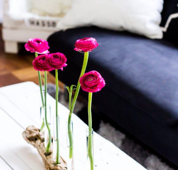 Wohnzimmerdeko: Selbst gemachte Blumenvase