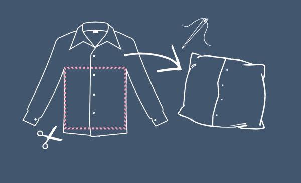 Anleitung: Kissenhülle aus Herrenhemd
