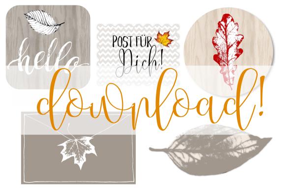 Kostenloser Download: Aufkleber für die briefe und Post im Herbst