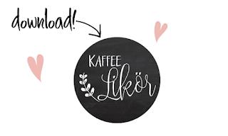 Kostenlose Etiketten für selbstgemachten Kaffee-Likör zum Ausdrucken.