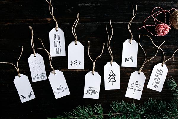 Geschenkanhänger zu Weihnachten gratis zum Ausdrucken von Gather and Feast