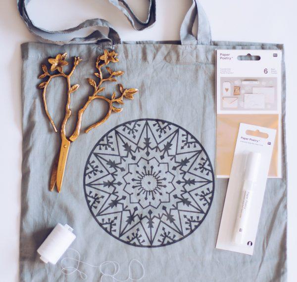 Material für Upcycling-Idee: Einen alten Einkaufsbeutel weiterverwerten. Nähen mit titatoni und craftroomstories.