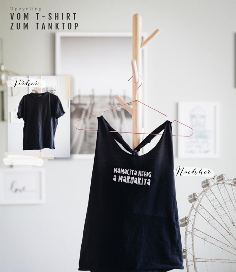 DIY Tanktop: Ganz ohne Nähen machst du dir aus einem alten T-Shirt ein tolles Upcycling Top! titatoni.de