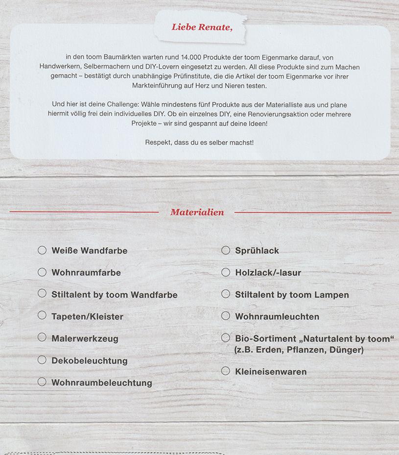 Post von toom: Einladung zur DIY Challenge. titatoni.de