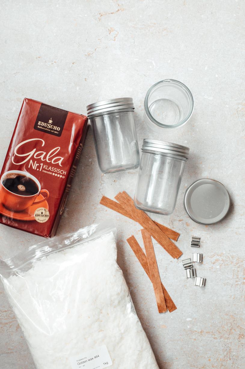 Material für die DIY Kaffee-Kerze. titatoni.de