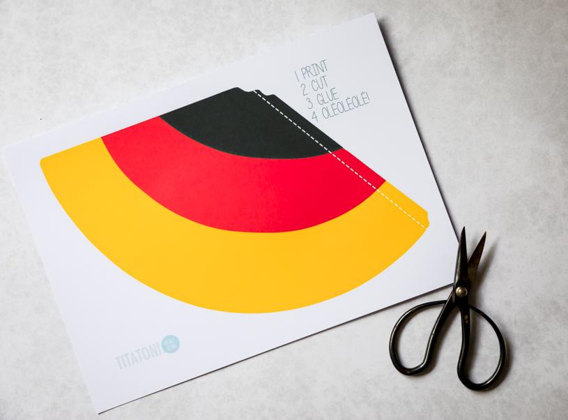 DIY Partyhut in Deutschlandfarben– Fanartikel zur Fussball Weltmeisterschaft oder Europameisterschaft selber basteln. titatoni.de